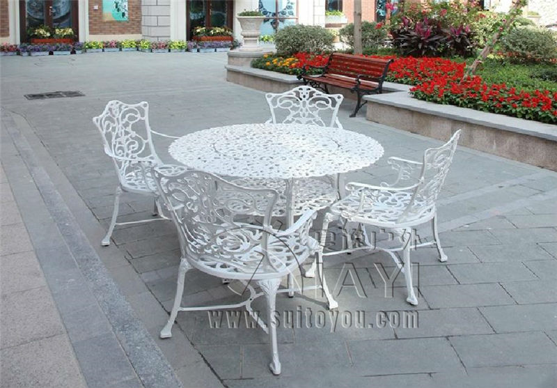 5 piece heavy duty cast aluminum patio furniture dining set table 4 chairs high back arms for garden pool backyard all weather