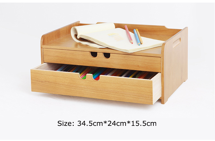 Japanese style solid wood storage box Home office desktop cosmetic