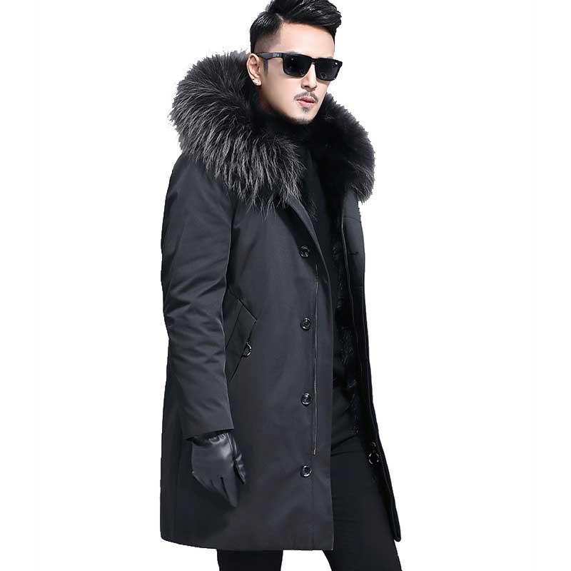Amovible Parka Outwear Chaude Avec Capuchon Doublure Luxe Grande Hiver Chaud Beige Raton Fourrure À Épaisse De 2018 Laveur Mens Manteau OApgxO