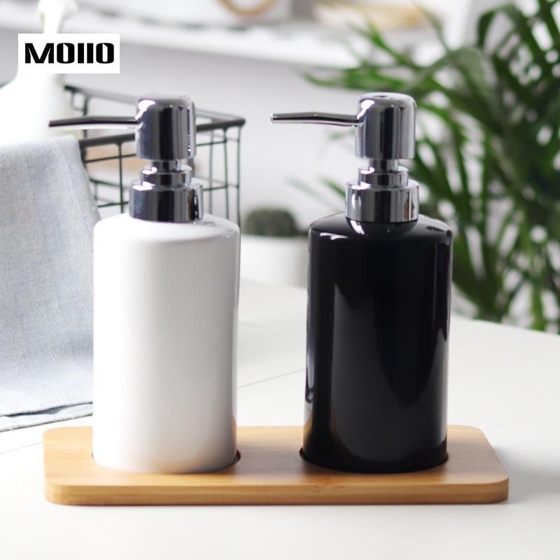 Moiio Bathroom Accessories Liquid Soap Dispenser Simple Design Shampoo Shower Gel Black White Ceramic Pressing Down Bottle