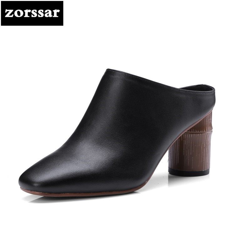 {Zorssar} 2018 New Pointed toe women mules shoes Genuine Leather High heels slippers sandals Women Slides Summer Female Footwear 2018 summer new genuine leather women slippers sexy cut outs high heels shoes fashion slides natural leather sandals for women