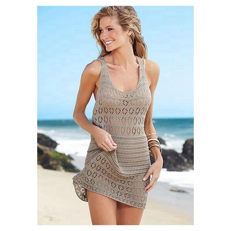 100% Cotton Sexy Women's Crochet  Racerback Dress Beachwear Dresses Cover up