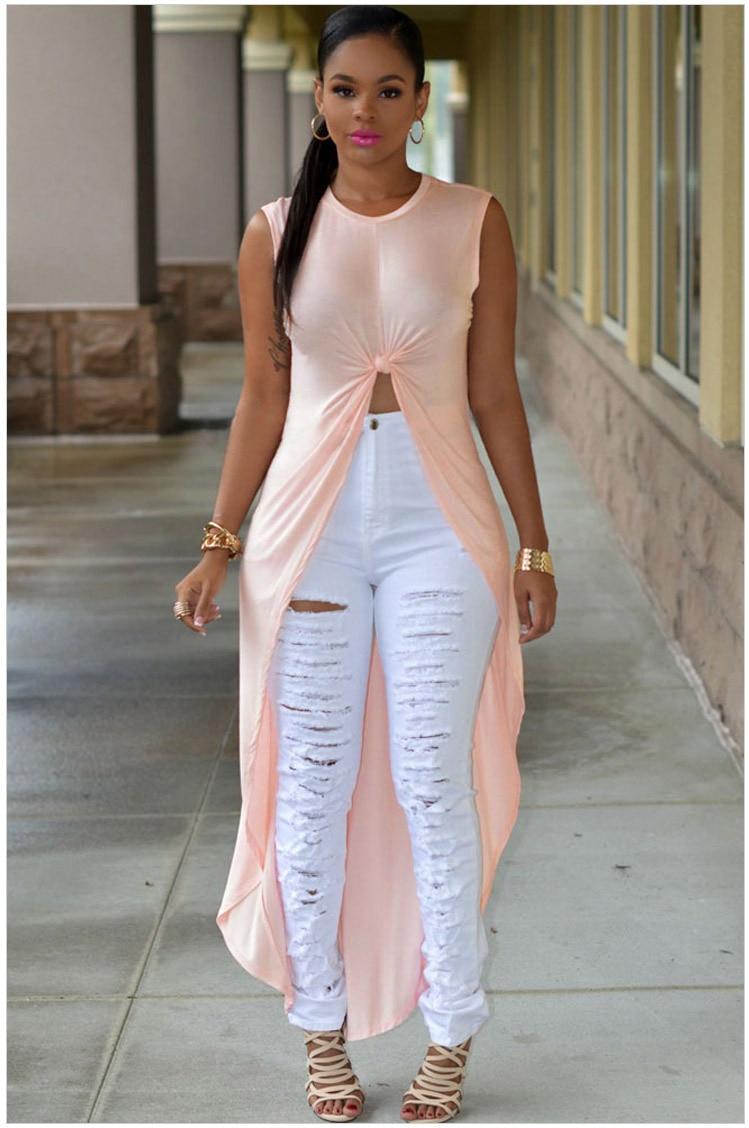 2016 New Fashion Sexy Women Long High Low Top T Shirts -5224