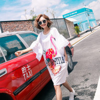 TREND Setter 2017 Summer Fashion Flamingo Print Long T shirt Women Casual Loose Sequins Tee With Flar Sleeve Oversize
