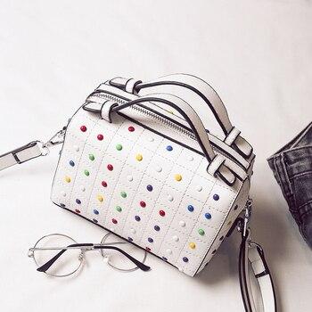 Diamonds Handbags High Quality Small Tote Boston Rivet Bags PU Leather Women Shoulder Bag Top-handle sac a main 273 Чокер