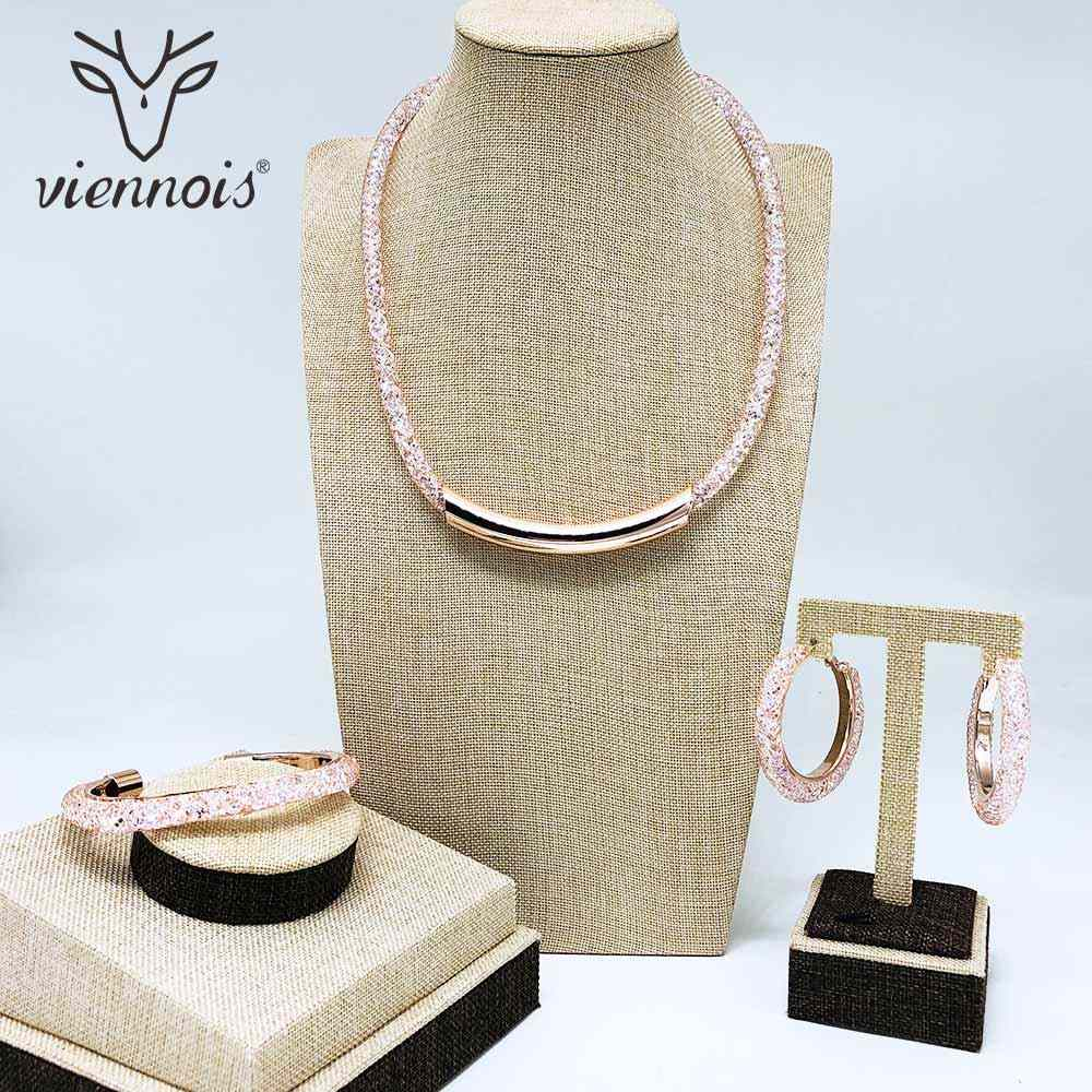Viennois New Rose Gold Color Hoop Round Earrings Bracelet Choker Necklace Set For Women Metal Party Jewelry Set