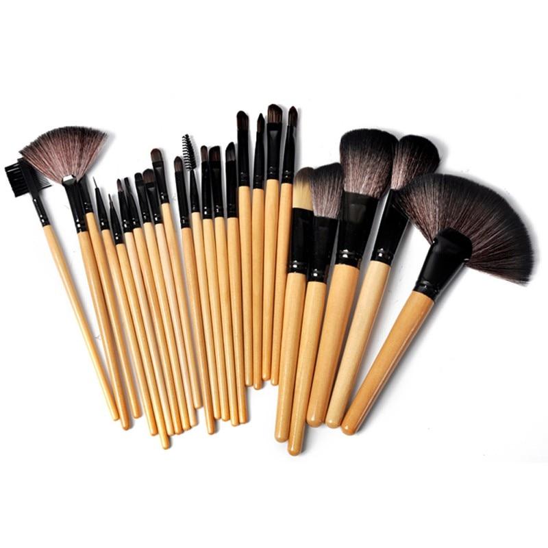 Hot 24 pcs Makeup Brush Set Tools Make-up Toiletry Kit Wool Brand Make Up Goat Hair Brushes Set