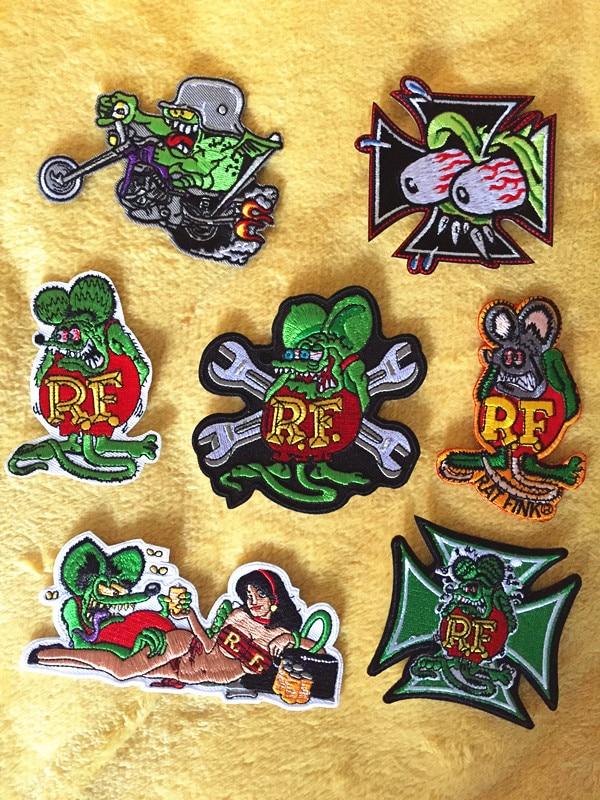 7pcs/lot One Piece RF Rat Fink Ratfink Mouse Jacket Patches For Clothing Rock Patch Husky Set