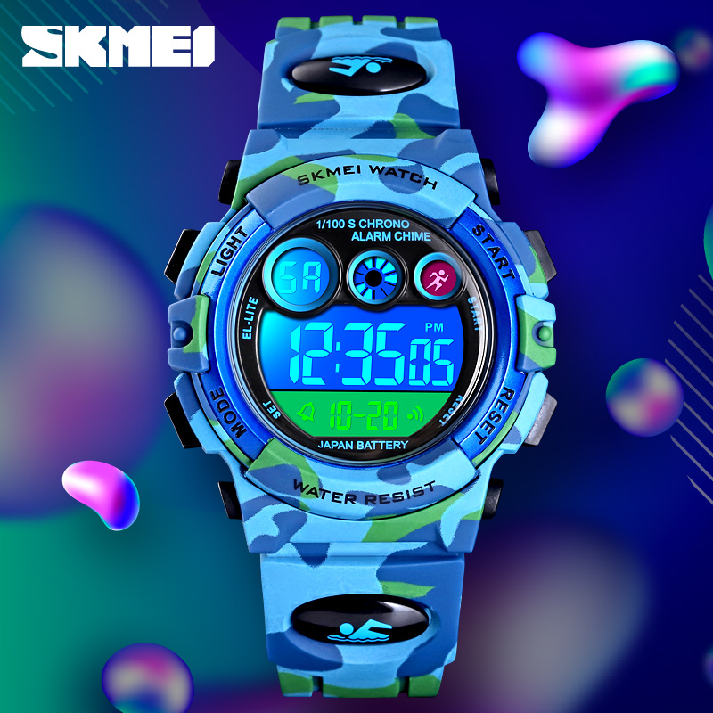 SKMEI Sport Kids Watches Colorful LED Digital Watch 5Bar Waterproof PU Strap Alarm Clock Children's Watches For Boys 1547 Reloj