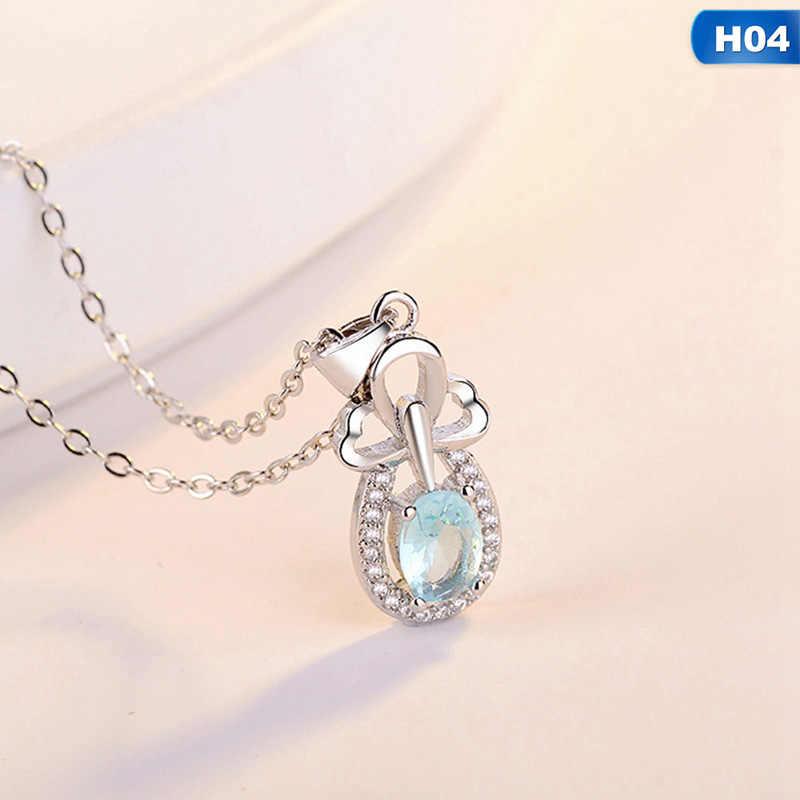 ブルートパーズペンダント天然宝石ソリッドシルバーのネックレスファインファッションクリスタル石女性ガール