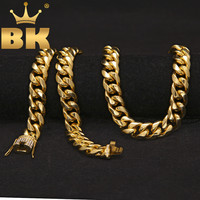 Luxury Heavy Cuban Link Chain Iced Out Rhinestones Triple Lock Stainless Steel Long Necklace Men Hiphop Rapper Jewelry