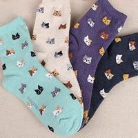Новые весенние высококачественные носки животное, мультяшная кошка прекрасный для женщин коттоновые носки