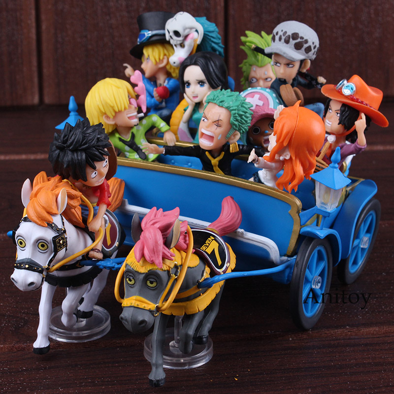 One Piece Figure 20th Anniversary Luffy Nami Zoro Sanji Chopper Ace Sabo Trafalgar Law Hancock Carriage Ver. Figure Toys Set one piece model fighting edition monkey d luffy sanji ace trafalgar law dracula mihawk