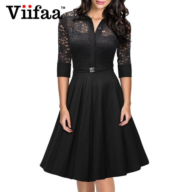 Tonval 2016 New Women Sexy Lace Dress Vintage Rockabilly Evening Party Swing Dress Ladies Elegant Black