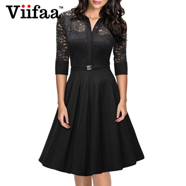 Viifaa 2016 mujeres atan dress rockabilly vintage del partido de tarde sexy otoño dress 1950 s gira el collar abajo vestidos negros elegantes