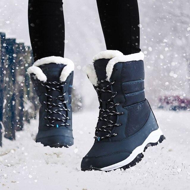 여성 부츠 따뜻한 모피 겨울 부츠 패션 여성 신발 레이스 업 플랫폼 발목 부츠 방수 스노우 부츠 미끄럼 방지 숙녀 신발