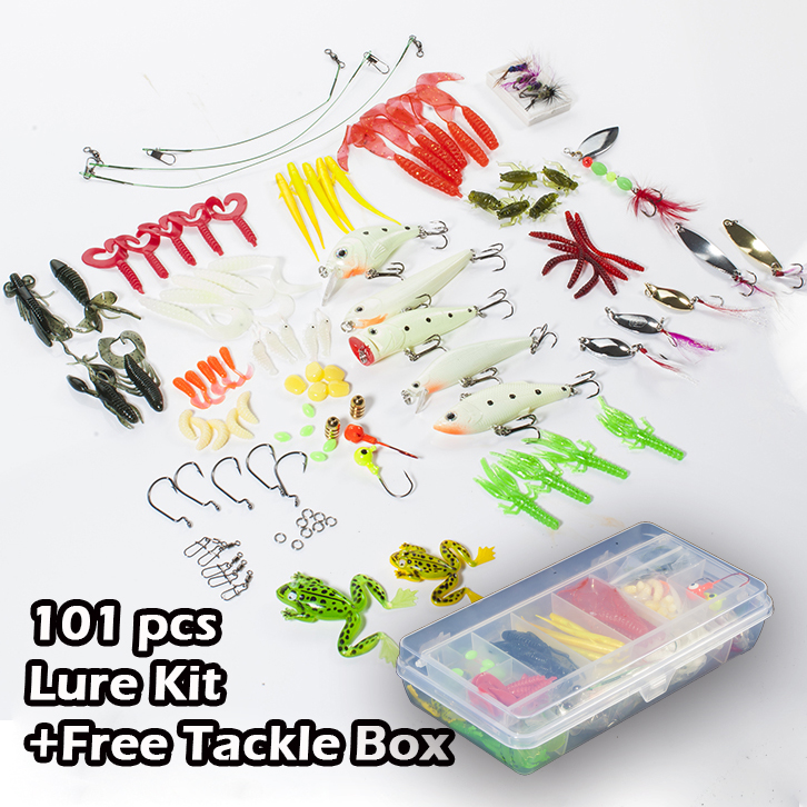 Seanlure 101 pcs lure kit free tackle box soft lure glow minnow fly fishing frog grub hook connector clip jig head craw leader goture 96pcs fishing lure kit minnow popper spinner jig heads offset worms hook swivels metal spoon with fishing tackle box