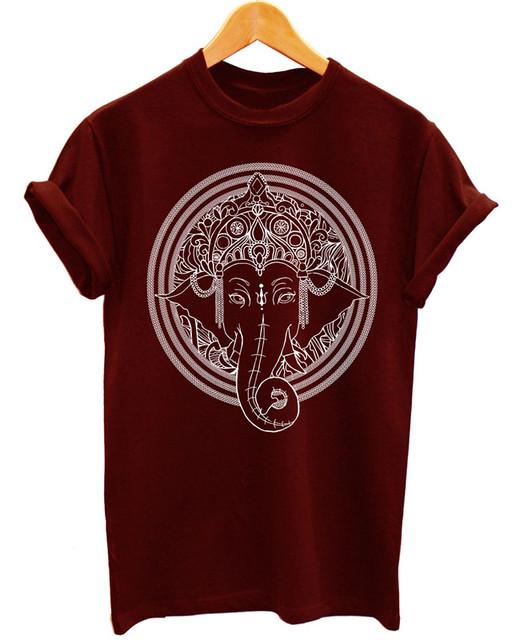 Hindu Ganesha Print Ethnic Art T-Shirt
