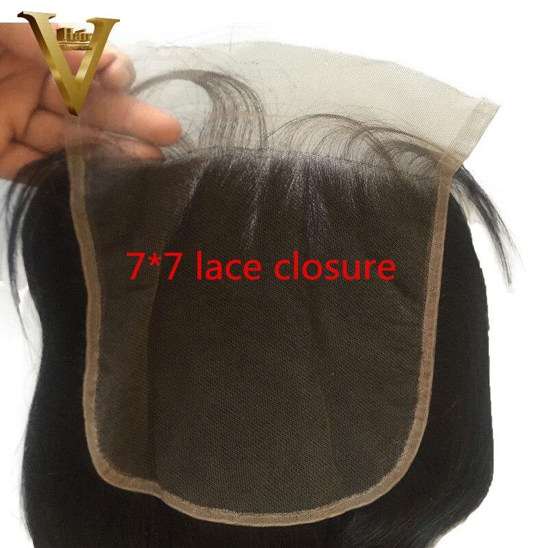 7 7 Lace Closure Body Wave Brazilian Human Hair Closure Natural Color Bleached Knots PrePluck Remy