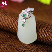 Fashion Big Gemstone 30mm*20mm Natural Jade Necklace Pendant Genuine 925 Sterling Silver Jewelry Classic Luxury Crystal SP62