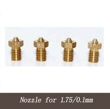 NEW ITEMS 3D printer 3D V6&V5 J-Head brass nozzle extruder nozzles 0.1 mm For 1.75mm supplies