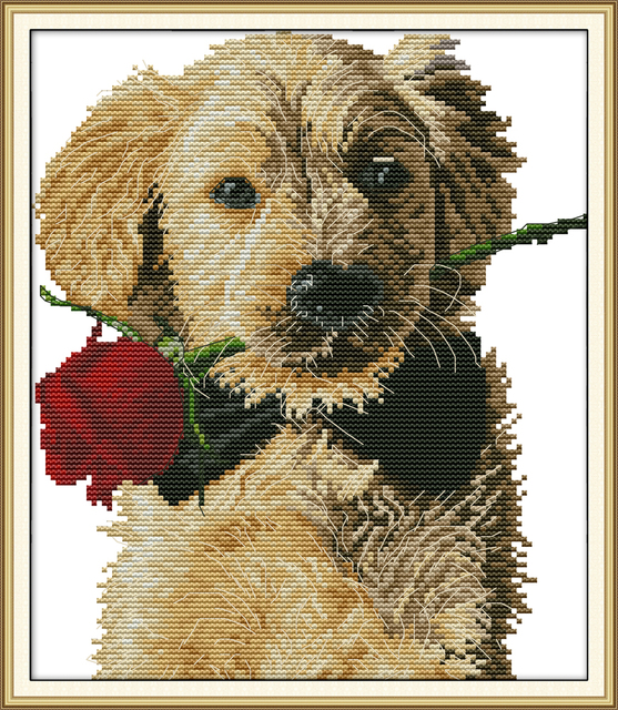 Dog and Rose cross stitch