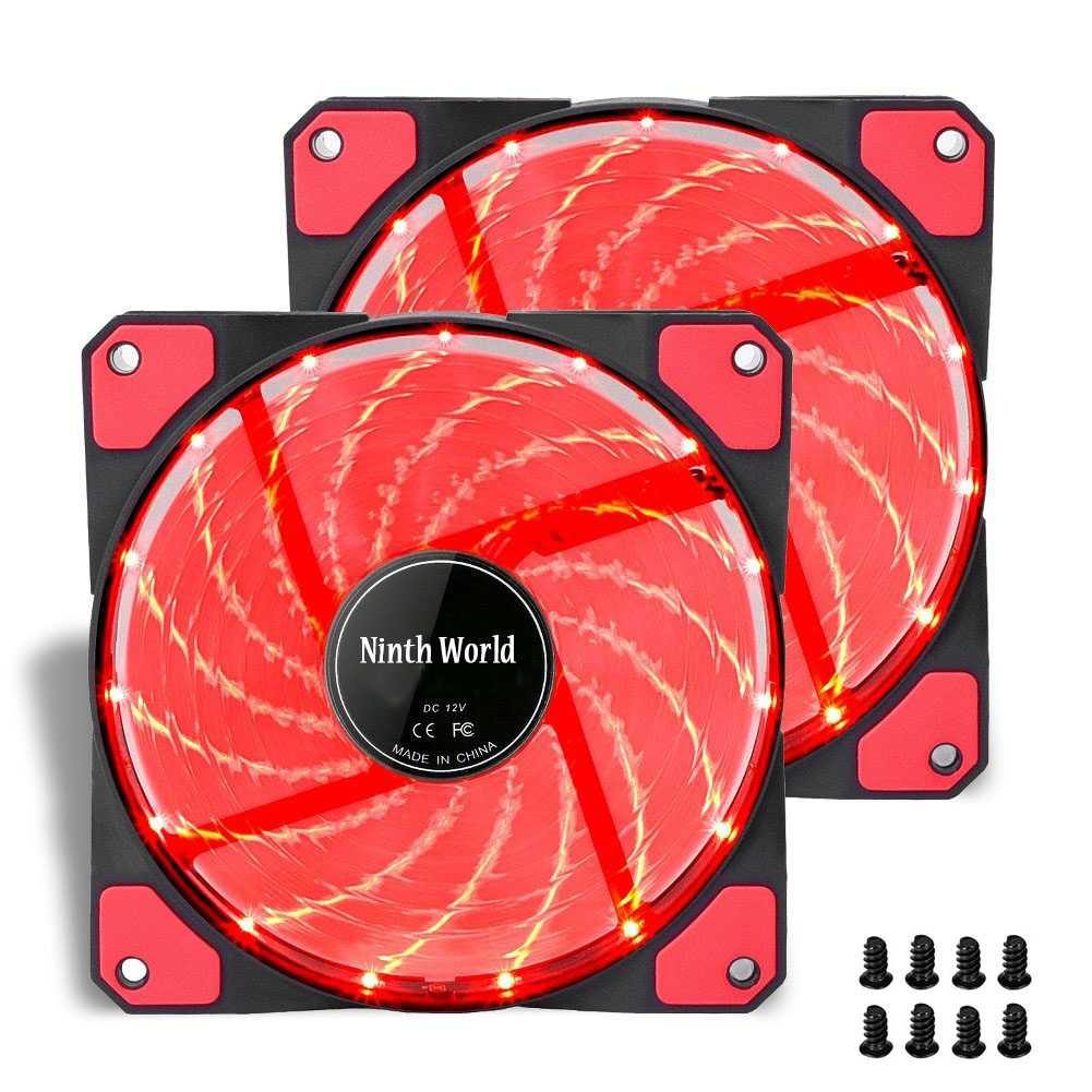 Ninth World 120mm PC Computer 16dB Ultra Silent 15 LEDs Case Heatsink Cooler Fan