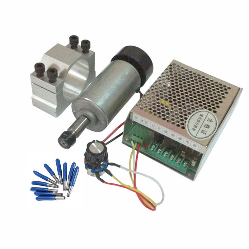 0.3KW CNC spindle motor 300W DC 12-48 52MM Clamp DIY PCB router milling machine parts 450w cnc dc spindle motor and speed control board 48vdc 12000rpm dc air cooling 0 42nm er11 for diy carving pcb milling machine