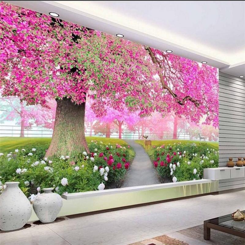 beibehang Custom high-level wallpaper 3D flowers cherry tree walkway 3d TV backdrop wall papel de parede photo wallpaper 3d wall beibehang backdrop papel de parede 3d