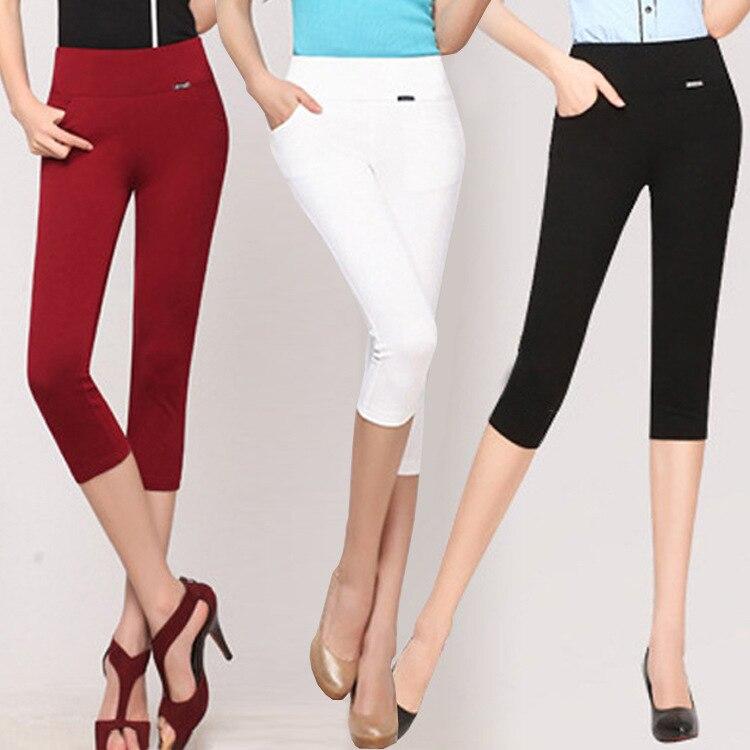 Women's High-waist Leggings Summer Stretch Thin Capris Pencil Pant Plus Size 5xl 6xl Knee Length Trousers Female Black White