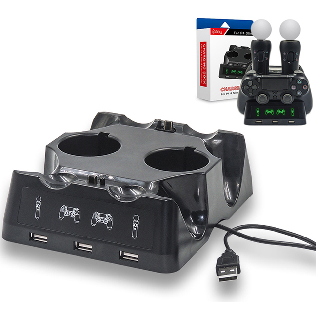 עבור פלייסטיישן 4 PS4 Slim פרו PS VR תנועת Move PS בקרי 4 ב 1 מטען Dualshock USB טעינת Dock תחנת אחסון Stand