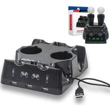 Soporte de almacenamiento para PS4 Playstation 4 Slim Pro PS, VR, PS, controladores de movimiento, cargador 4 en 1, Dualshock base conectora de carga USB