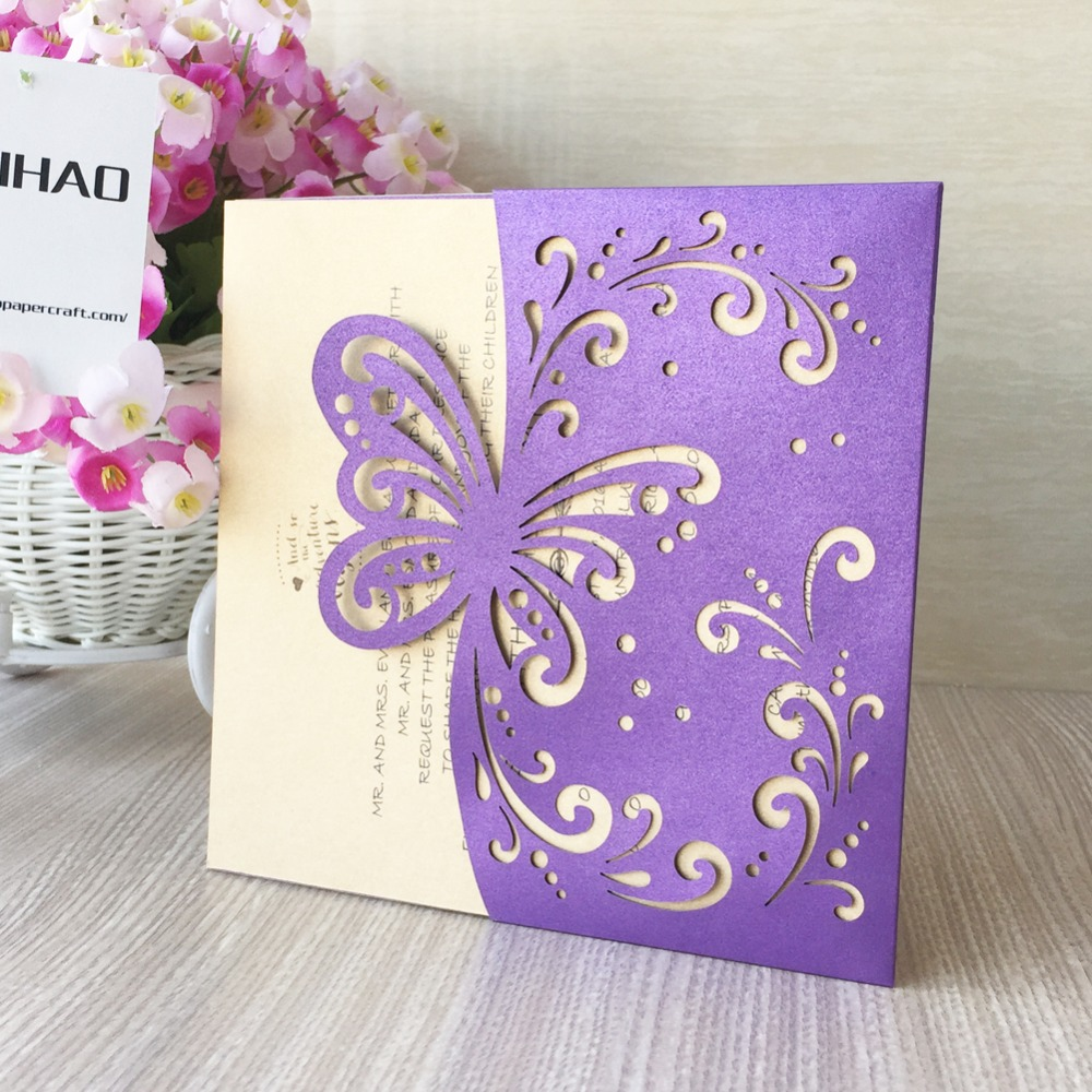 20Pcs Laser Cut Pearl Paper Pretty Wedding Invitation