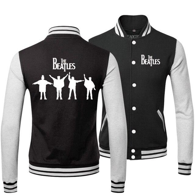 On Sale 2015 Winter Fashion Cotton Hip Hop Mens Coats And Jackets Brand The Beatles Rock Band Baseball Bomber Jacket Men Printed