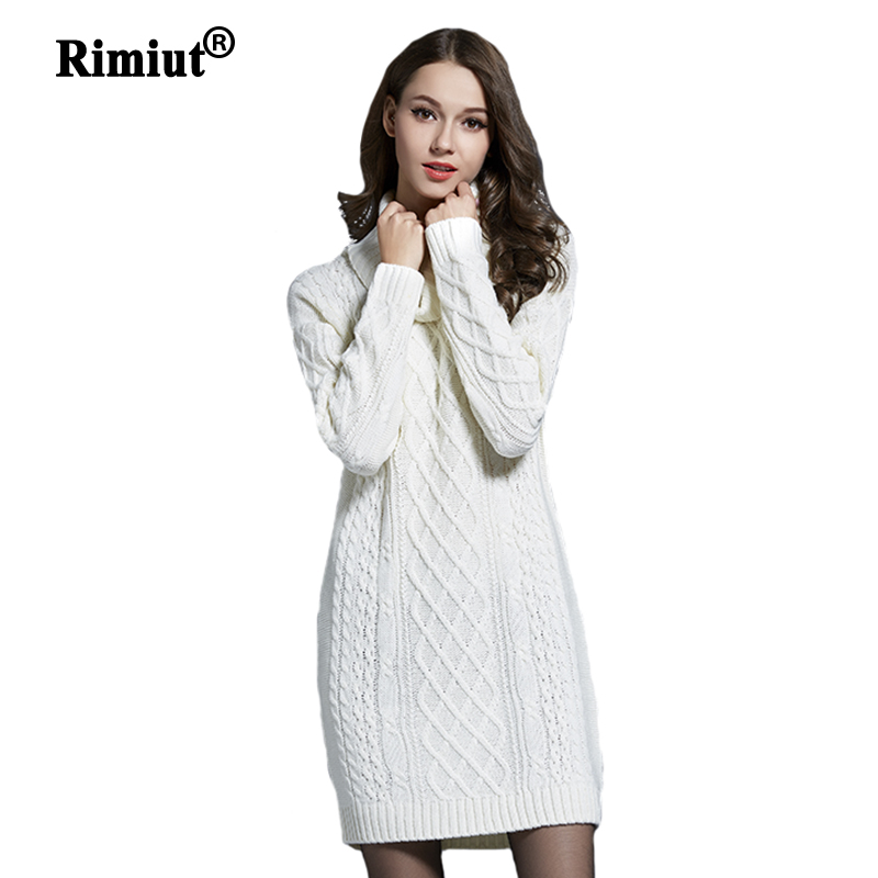 Rimiut 3XL 4XL Plus Size Knitted Long Sleeve Turtleneck Women Casual Sweater Dresses Autumn Winter Trendy Lady Pullovers Sweater