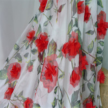 New Arrival 1yard Dusty Pink/Red Rose Vivid Lace Fabric 3D Chiffon Rosette Flowers Soft Tulle for Bridal