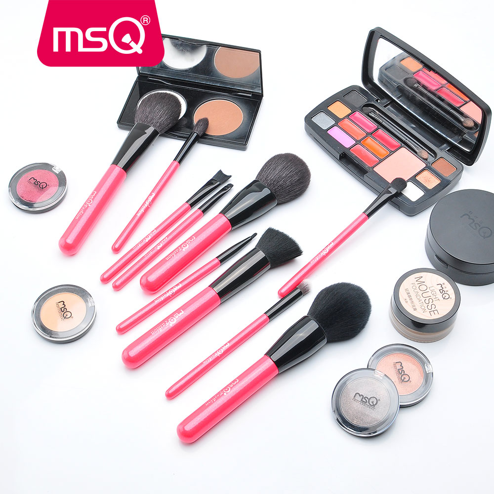 MSQ 10pcs Pro Makeup Brush Set Rose Gold Powder Foundation Eye Make Up Brush Set Soft Goat Hair With PU Leather Case Kit