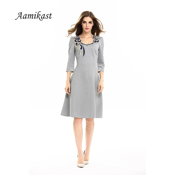 0ea288018f22 Plus Size Dresses Summer Women Office Gowns Elegant Slim Party Dress  Vestidos 3 4 Sleeve Female Casual Robes Work Wear YD-19