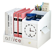 Desk Set Plastic Organizer with Drawer Multifunctional Magazine Rack Paper Holder Home Office Table Accessories Joy Corner