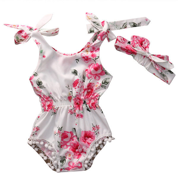 Newborn Toddler Baby Girl Clothes Floral Bodysuits Sleeveless Cute Bow Flower Bodysuit Outfits Baby Girls Clothing
