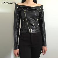 Femmes Automne Hiver Pu Cuir Manteau Zipper Encolure Noir Slash Cou Bomber Veste Femmes Streetwear Veste Punk De Base Manteau