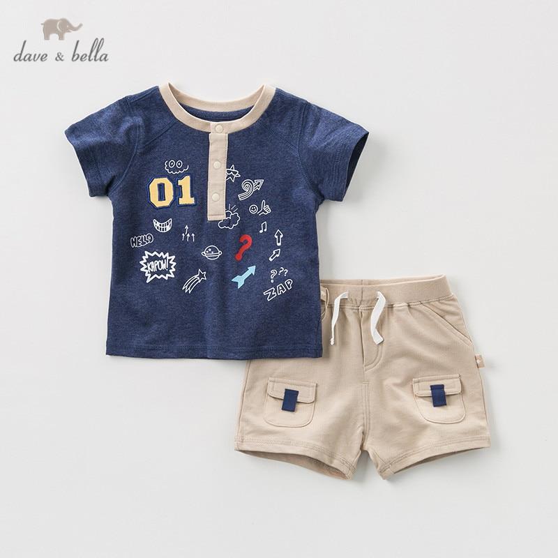 DBA9504 dave bella summer baby boys fashion clothing sets casual short sleeve suits children ocean print