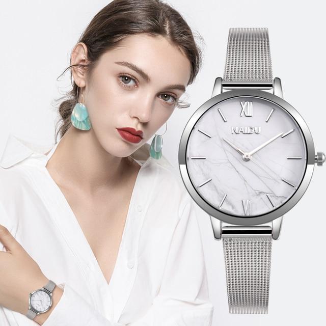 Fashion Silver Mesh Band Creative Marble Wrist Watch Women Bracelet Watches Women's Quartz Watches Ladies Clock Reloj Mujer