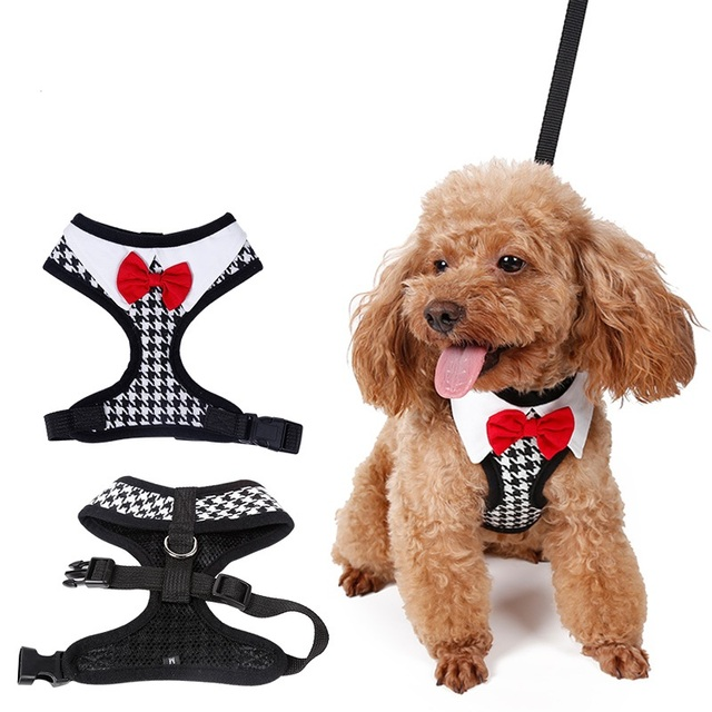 Red Bowtie Peppita design Tuxedo Dog Harness With Leash size XS,S,M