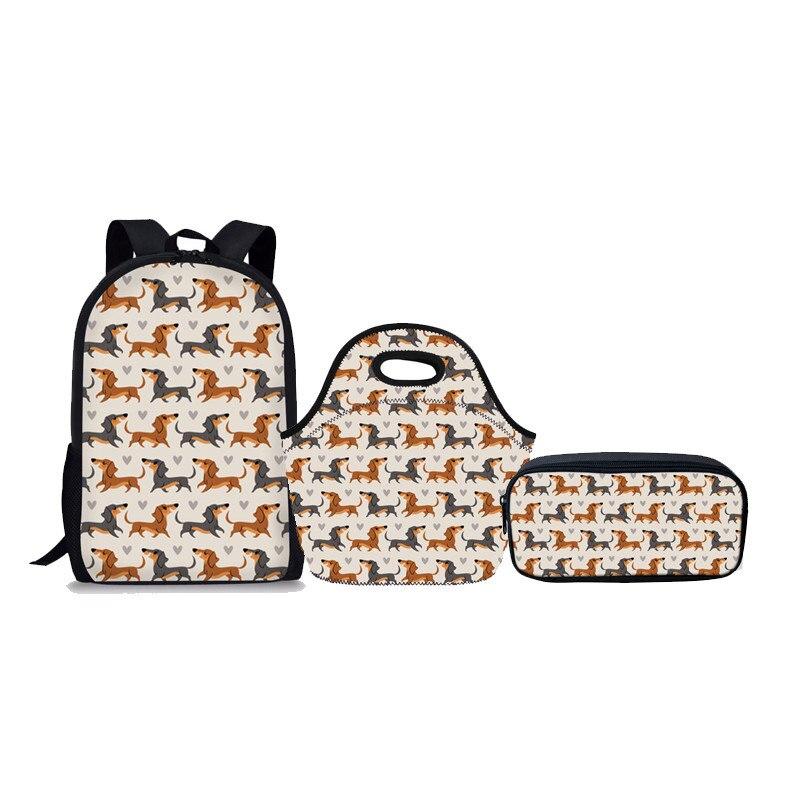 Noisydesigns 3Pcs/set Children School Bags for Teenager Doxie Dog Printing Schoolbag Kids Cute Shoulder Backpack Large Book Bag