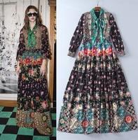 High quality bowknot floral print long sleeve dress New 2017 Fall runway long dress fashion woman's bohemian dress