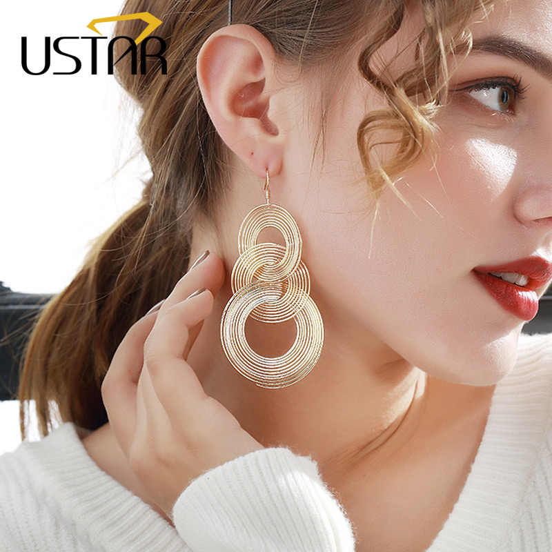 USTAR Multi Round Long Drop Earrings for Women Geometric Statement Tassel Earrings female 2018 Fashion Jewelry hanging oorbellen