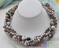 06429 4row gray pearl faceted agate bead smoky quartz necklace