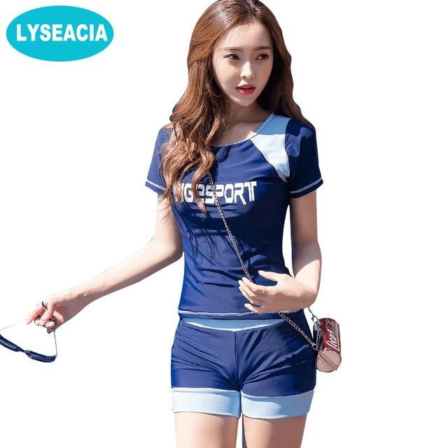 lyseacia sport two piece swimsuit women t shirt beach