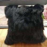 Home decorative Black fox fur pillow covers real fur pillow case /pillow cushion
